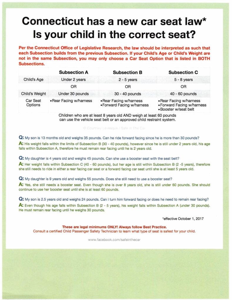 New Car Seat Law In Connecticut